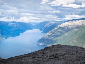 The view from Preikestolen, aka Pulpit Rock, in Norway.